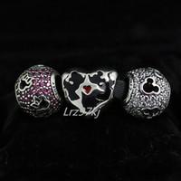 achat en gros de authentique murano pandora-Authentic 925 Charms en argent sterling et verre de Murano Set Convient bijoux Pandora charme européen Bracelets- EA19