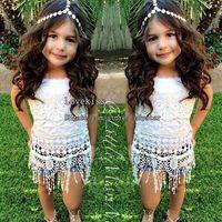 Cheap Girl Dress Children Set Kids Suit Outfits Lace Tank Tops Summer Denim Shorts Children Clothes Kids Clothing Child Suit Girls Outfits C447