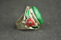 Wholesale China Collectible Decorate Handwork Old Miao Silver Mosaic Jade Adjustable Ring