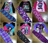 Wholesale New girls cartoon winter Monster High School suit t shirt leggings ever after high pajama suits baby kids sleepwear Sets