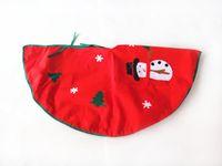 Wholesale RQAa205 green snowman applique Christmas tree skirt cm non woven fabric tree skirt Christmas ornaments