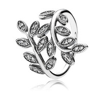 Wholesale 100 S925 steriling silver pandora ring with full AAA zircon rhinestone crystal leaves pandora rings with box fine jewelry