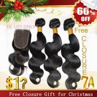 Wholesale Christmas Sale Free Lace Closure Human Hair Extensions A Virgin Brazilian Peruvian Indian Malaysian Hair Weave Accept Returns