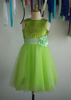Cheap Lime green sequins tulle flower girl dress tutu princess kids children junior bridesmaid dress with ribbon flower for wedding