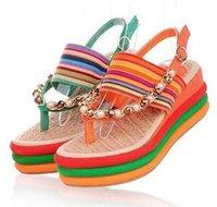 Cheap 2015 fashion sandals platform wedges shoes high heels wedges bohemia flip-flop platform shoes beach sandals platform sandals