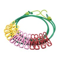 Wholesale Wavors Durable Wild Travel Portable Windproof Elastic Clothesline Clips Hanger