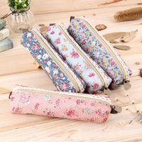 Wholesale 1 Girls Flower Lace Floral Pencil Case Pen Bag Purse Cosmetic Makeup Pouch Bag