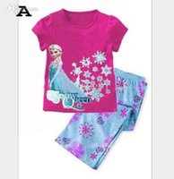 Cheap 2014 Baby Girls Frozen Pajamas Kids Anna Elsa Olaf Princess Pajamas Children Summer And Autumn Clothes New Cotton 2Piece Set Color Ra JL-978