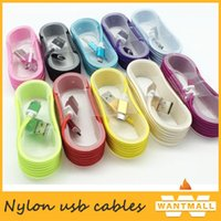 Wholesale Top quality M nylon USB Charging Cable For Smart Phones Samsung HTC LG Micro USB Wire With Metal Head Plug