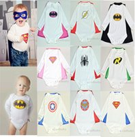Wholesale 2015 Cotton Children Superhero Baby sets romper Detachable Cape new born baby Costume baby halloween body suit