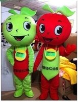 advertising mascots - Cartoon Doll Doll clothing performance clothing walking advertising mascot costume dress red and green apples