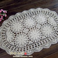 crochet table cloth - French style good looking Handmade hook needle crochet table cloth table mat fashion cutout cotton table runner beige oval