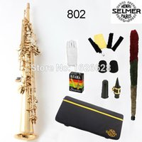 Wholesale EMS France Selmer Soprano Saxophone Professional B Golden Straight Sax mouthpiece With Case and Accessories