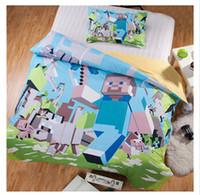 home bedding - 4 D Bedding Set Minecraft Bedding Steve Kids Bed Set Twin Full Queen Duvet Cover Fitted Sheet Flat Sheet Pillow Shams m0514