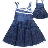 american girl braces - 2015 Hot baby girls denim Braces lace Skirts girls summer Bow princess dress fashion cute children s clothing C001