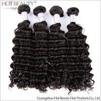 al por mayor peruano 4pcs armadura profunda-Envío libre 4Pcs Lote En bruto peruano Virgen Rizado, producto de pelo de la onda profunda tejer del pelo belleza caliente peruana