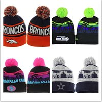 skull caps - Winter Warm Football Beanies Sports Knitted Hats Pom Pom Crochet Hat Skull Caps For man Mix Order