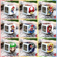 Wholesale 20pcs LJJC3021 Super Mario LED Color Changable Thermometer Calendar Digital Alarm Clock Super Mario Action Figure Anime Decorative Clock