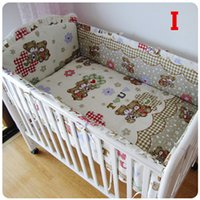 Wholesale 22 Colors Cute Cartoon Baby Cot Bedding Set With Bumpers And Sheet Total Children Bed Clothing Very Soft For Newborn
