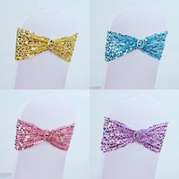 Wholesale Sparkling Sequined Colorful Wedding Chair Covers Banquet Chair Sashes Bowknot Colored Chair Bands for Wedding Accessories