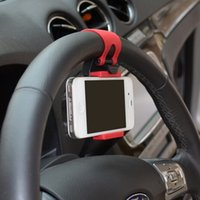 Wholesale Universal Car Steering Wheel Mobile Phone Holder Bracket for iPhone S plus Samsung Galaxy S4 S5 S6 Note Smartphone GPS