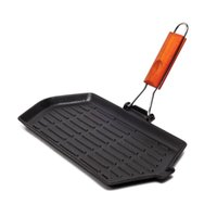 Wholesale New High Quality Barbecue Plate Smokeless Cast Iron Square Grill Pan with Foldable Handle