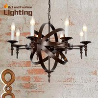Wholesale Vintage French Eight Light Wrought Iron Chandelier Adged Candle Lights Creative Art Design Chandelier E14