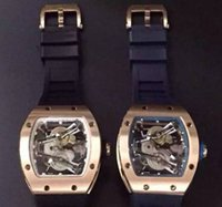 big paper rose - Luxury Automatic Movement Wristwatches Rose Gold Stainless Big RM038 Hollow Rubber Strap Mens Mechanical Skeleton Watches Box Paper For Men