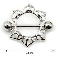 Wholesale Hot Sale Pair Flower Round Body Piercing Jewellery Nipple Shield Barbell Ring