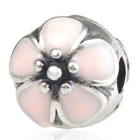 Wholesale 925 Sterling Silver Cherry Blossom Fixed Clip Charm with Pink Enamel Fit pandora style Bracelet For Women silver beads