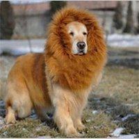 Wholesale 2014 New Creative Dog Puppy Wigs Brown Practical Pet Accessories Lion Mane Wig for Dog Halloween Clothes