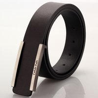 Wholesale Genuine Leather Belts For Men Brand Designer Smooth Buckle Belts Cowhide Designer Plate Buckle Belts