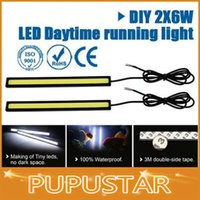 Wholesale New Ultra Bright W cm Silver Black Shell Daytime Running light Waterproof COB Day time Lights LED Car DRL Driving Lamp
