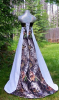 autumn forest - White Camouflage Camo Wedding Dress Strapless Lace up Back Stain with Forest Chapel Train Unique Modest Bridal Gowns Actual Image