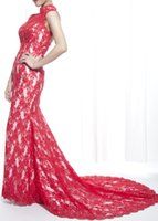 Wholesale Elegant New Celebrity Dresses Mermaid High Neck Charming Applique Backless Sweep Train Or Court Train Organza Red Carpet Women Gowns