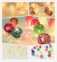 Wholesale 8 play mode Mixed sets Brown white multicolor Rattan Wicker Ball Patio Party String twinkle Fairy Lights Wedding decor