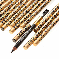 Wholesale 2015 Pencil With Brush Eyebrow Leopard Design Metal Casing Two Sides Factory Direct Pieces New Leopard New