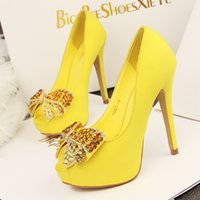 Wholesale Stylish Pumps - White Yellow Stylish Bowtie Peep Toe Gold heel platform high heels shoes,sweet women's shoes free shipping