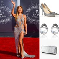 Cheap New 2015 Silver Celebrity Dresses Jennifer Lopes Handbag Shoes Earings Bandage Evening Dress Red Carpet Sequin Hollow Sexy Prom Gown 2014