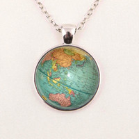 american globe - Hot glass dome jewelry Vintage Globe Necklace Planet Earth World Map Necklace Art Glass dome pendant glass gemstone necklace