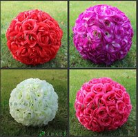 artificial wedding bouquets - 12 quot cm Artificial Simulation Encryption Silk Rose Flower Kissing Ball for the New Year Festive Wedding Decorations Bouquet