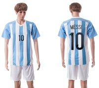 Wholesale New Argentina home blue white jersey MESSI designer soccer kits men s short sleeve outdoor football wear summer sports uniform set