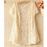 Wholesale Fashion Women Short Sleeved Lace Crochet Cardigan Jacket Outerwear Beige Black Fuchsia White Yellow Drop Shipping WF