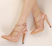 leather pumps - Fashion Pumps PU leather point toe High thin heels ut Outs Rivets Buckle Strap Women Dress shoes Plus size four colors