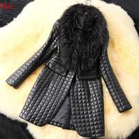 Wholesale Spring Autumn Winter Leather Jacket New Black Party Wear Long Sleeve Faux Fur Collar Outwear Ladies Plus Size Coat Woman M XXXL SV007257l