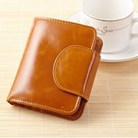 ans waxes - New Lady small short oil wax genuine cow leather wallet Women vintage buckle purse card holder ANS PL