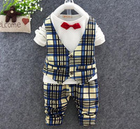 baby boy tie t shirt - boys clothing sets baby fall spring clothes kids t shirts vest top plaid pants childrens boy suits bow tie infant toddler fashion clothing