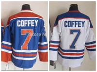 Wholesale Edmonton Throwback Hockey Jerseys Paul Coffey Jersey Home Royal Blue White Vintage CCM Paul Coffey Stitched Jerseys M XXXL