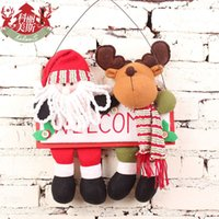 christmas wreath ring - Cory Mae plush Santa Claus Christmas decoration hanging Christmas wreath hanging door elk tag rattan ring gift