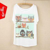 Cheap 2015 New Tops cute all kind of owls print Japan Korea lady's loose O neck bat sleeve T-shirt brand t shirts for women tees TJ134sweatsh